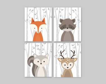 Forest Animal Set Woodland Nursery Wall Art Print Baby Fox Print Decor Baby Shower Gifts Christmas Gift Ideas for Baby Nursery Modern Art