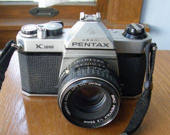 Asahi Pentax K1000 35mm SLR Camera with SMC Pentax 55mm f2 Lens and strap
