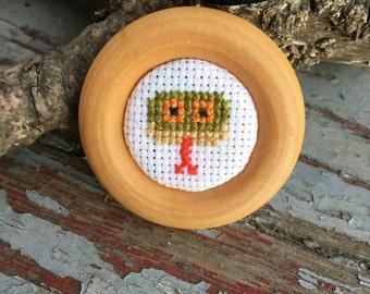 Happy Green Snake Cross-Stitch Pendant