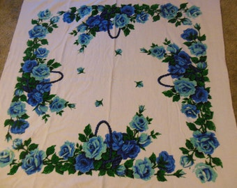 Blue & Teal Roses Floral Terrycloth Tablecloth