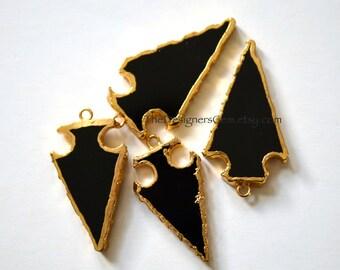 Black Onyx Arrowhead Pendant, Gold Dipped Arrowhead, Black Onyx Arrowhead Pendant, Bohemian Pendant