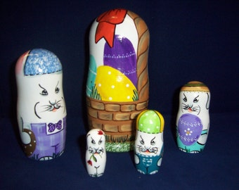 Hand painted Easter Bunny Collection stacking nesting doll set