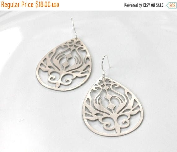 20% off. Art Nouveau Earrings - silver plated