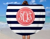 Personalized Round Beach Towel - Design your Own Beach Towel - Custom Name Camp Towel - Soft Velour Monogram Beach Towel, Custom Beach Towel