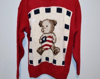 Vintage Sweater All American Teddy Bear