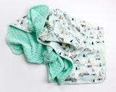 Tribal Minky blanket TEEPEE MINT- minky swaddle blanket- mint baby bedding- baby shower gift- lightweight blanket- modern baby bedding