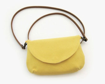 Yellow Small Purse · Cotton + Linen Travelling Purse · Crossbody purse · Small handbag · Leather Strap · Travel handbag · Passport bag