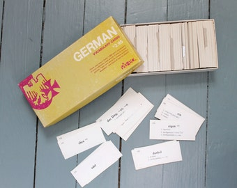 German Lesson... Vintage German Vocabulary Cards, Flash Card Set,  Language Learning, Educational Tools
