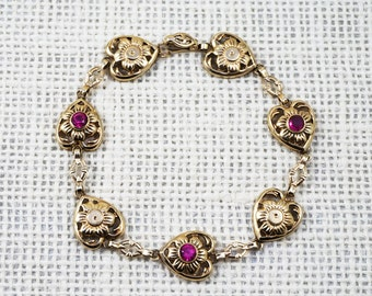 1930's Esemco 10K Gold Heart and Flower Bracelet with Pink Ruby Stones