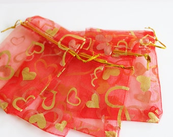 """Red and Gold Organza Bags Heart Print 2 3/4"""" x 3.5"""" Small Favor Bags 20+ Weddings / Party Favors / Jewelry Bags / Trade Shows"""