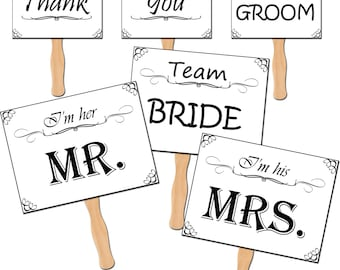 Wedding Photo Props, Printable Photo Booth Props, Wedding Party Props, Mr and Mrs Paddle Signs - DP412