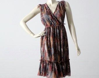 vintage 70s faux wrap dress, Phase II boho dress