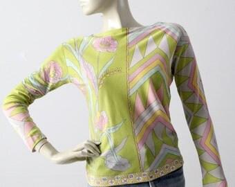 vintage Emilio Pucci blouse, 60s silk shirt, pastel top
