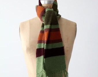 SALE vintage stripe scarf, green striped scarf