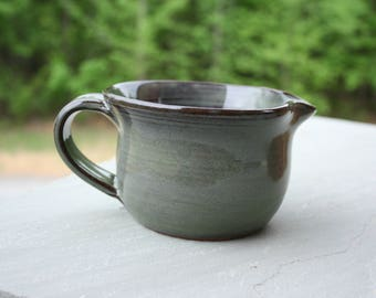 Pottery Batter Bowl Green Glaze NC Pottery Mixing Bowl