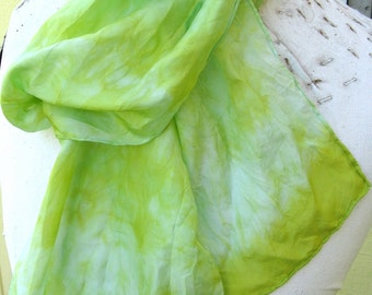 SALE  ...  long hand dyed silk scarf  ...  bold lime green with hints of pale sky blue