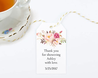 Boho Bridal Shower Favor Tags, Large Gift Bag Tag with Pink Flowers - Size 2 x 3.5 inches, Printed Tags