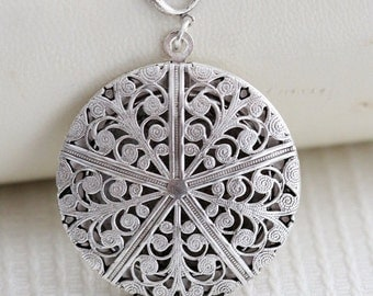 ON SALE Sale-Locket Necklace,Jewelry,Pendant, Filigree Locket,Floral Silver Locket,Antique Style,Flower Locket,Wedding Necklace,bridesmaid