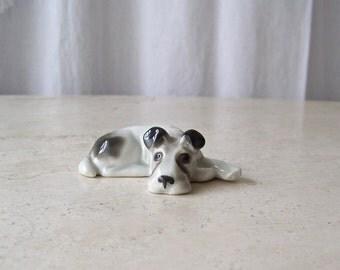 Vintage Dog Figurine Gotha Pfeffer Germany Terrier Dog Fine Porcelain 1940s