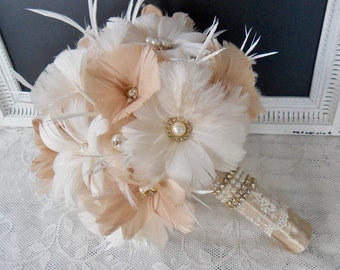 Wedding bouquet, Feather Bridal bouquet, Great Gatsby Wedding bouquet, Gold Wedding bouquet, Feather bouquet, Champagne Bridal bouquet