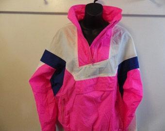 Totally Rad 1980s Windbreaker Flourescent pink half zip pullover Mens or Womens