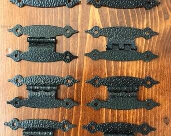 Vintage Hardaware. Cabinet Hardware 8 Hinges Hammered Antique Black Finish