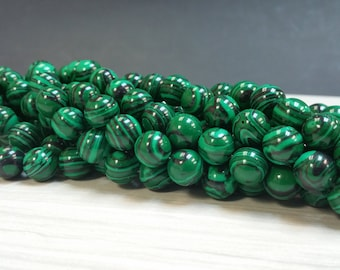10 mm. Malachite Smooth Round Beads 1.2 mm hole 15 1/2 inches Strand - Reconstituted (G1654W20-BR12)