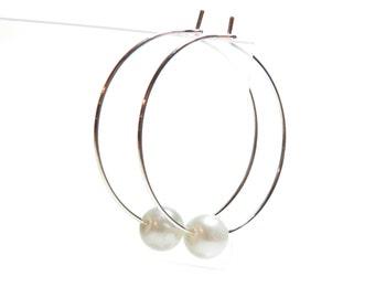 Single White Glass Pearl Hoop Earrings