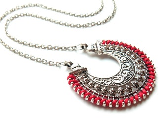 Crescent Moon Red Threaded Silver Necklace