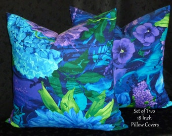Decorative Pillows, Accent Pillows,Throw Pillows, Pillow Covers, Home Decor - Set of Two 18 Inch - Blue and Purple floral