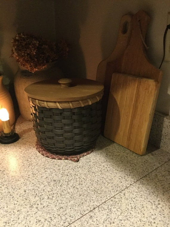 Coffee Filter Storage Round Basket With Lid Sewing Basket