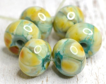 lamp work beads...SRA handmade, copper green and pastel shades of lampwork beads, soft colors, beads set of (6) for making jewelry 113016-12