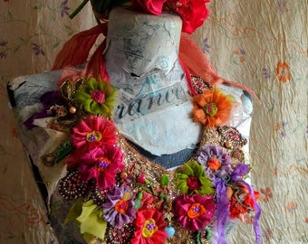 Fairy romantic bohemian necklace textile collage with embroidery hand made silk flowers beads gypsy mori girl statement necklace jewelry