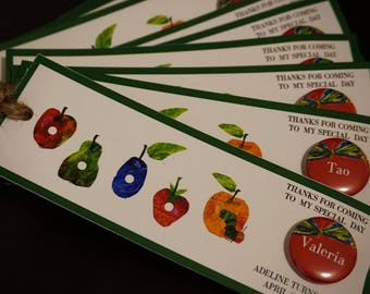 Personalized Bookmark for Book Lover - Book Party Favours - Milestone Party - Hungry Caterpillar Bookmark with Mini Button Pins 20 pcs +