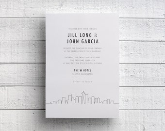 Seattle Wedding Invitation, Seattle Skyline Invitation, Seattle Invitation, Washington Wedding, Seattle Invite, SAMPLE