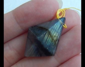 Faceted Pendant,Flashy Labradorite Gemstone Pendant Bead,29x21x11mm,5.0g(e0390)