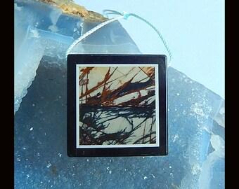 New,Picasso Jasper,Obsidian Intarsia Pendant Bead,35x36x6mm,20.86g