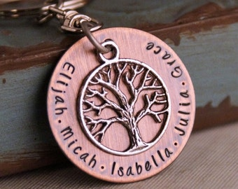 Daddy key chain / Personalized Keychain / Hand Stamped / Gift for Dad / Branches of the same tree