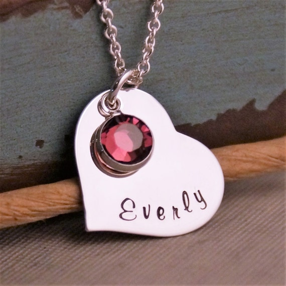 Hand Stamped Mommy Necklace / Personalized Jewelry / Sterling Necklace with Birthstone / My heart (Medium Heart)