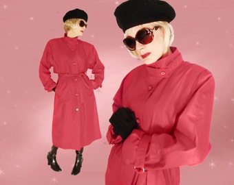 Red Trench Coat Womens, Red Raincoat, Deep Pockets, Spring Fall Long Trench, London Fog Trench Coat, Midi Trench Coat, Green Gift Women, VFG