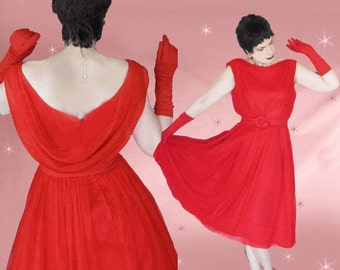 Red Prom Dress, 50s Vintage Cupcake Dress, Full Skirt Dress, Red Evening Dress, Attached Crinoline, Mid Length Dress, Red Cupcake Dress