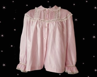 Plus Size Lingerie - Pink Satin Bed Jacket - Vintage Bed Jacket - Pink Barbizon Nylon Satin Bedjacket - Plus Sized Clothing - Gift for Mom