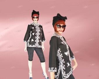 Gypsy Kimono Jacket, Vintage Asian Tunic, 70s Black and White Embroidered Tunic, Black Jacket Kimono, Boho Summer Jacket, Mandarin Collar