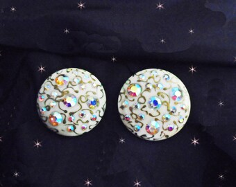 50s Clip Earrings, Vintage Lucite Clip ons, Aurora Rhinestones, Ivory Color Clip Earrings, 50s Retro Clip Ons in Gift Box