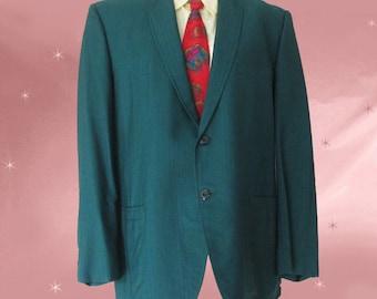 Green Sport Coat, Mens Vintage 60s Suit Jacket 1960s Silk Suit Jacket, Swanky Silk Blazer Vintage 60s, Mens 1960s Suit Jacket, Thin Lapels