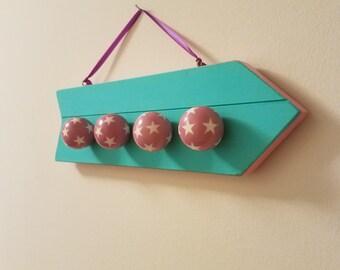 Pink Star Teal wood hook display