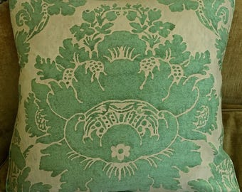 Single Mariano Fortuny Fabric Cotton Designer Throw Pillow Vivaldi Green Oyster Beige 2 available