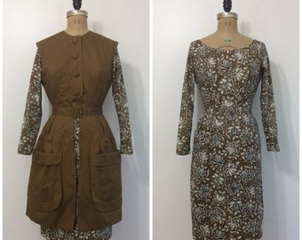 SALE 1950s Paisley Dress and Vest Set 50s