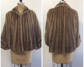 Vintage 1940s 1950s Honey Beaver Cape Coat 40s 50s