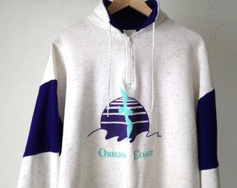 OREGON coast vintage 80s 90s sailing HENLEY lettered sleeve sweatshirt